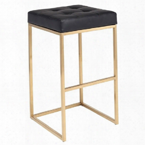 Maklaine 29.75 Faux Leather Bar Stool In Black And Gold