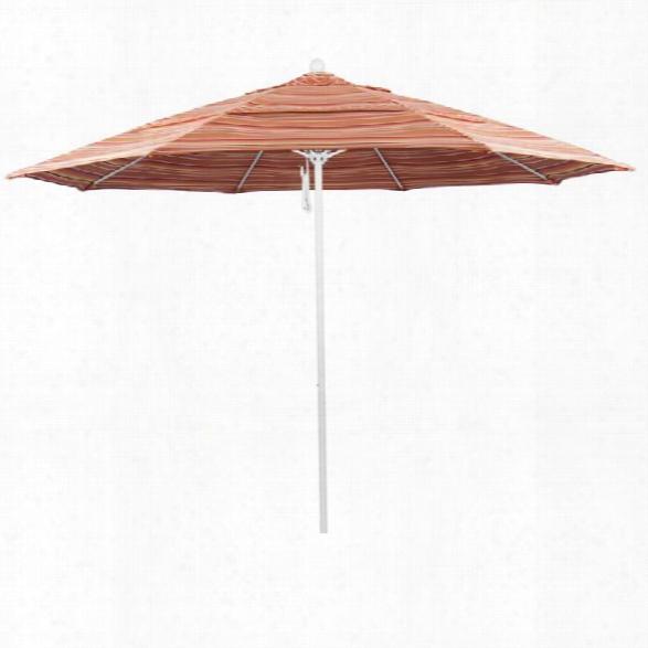 California Umbrella Venture 11' White Market Umbrella In Dolce Mango