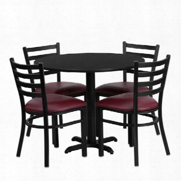 Flash Furniture 5 Piece Laminate Table Set In Black And Burgundy
