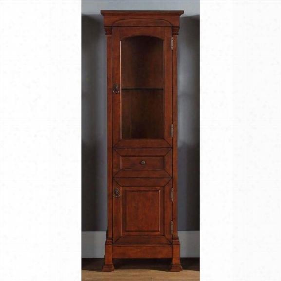 James Martin Brookfield Linen Cabinet In Warm Cherry
