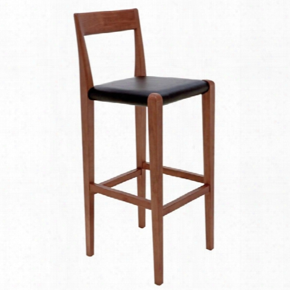 Nuevo Ameri 30 Leather Bar Stool In Black And Walnut
