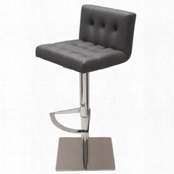Nuevo Preston Adjustable Faux Leather Bar Stool In Gray