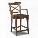 Hooker Furniture Rob Roy 24 Counter Stool in Medium Wood