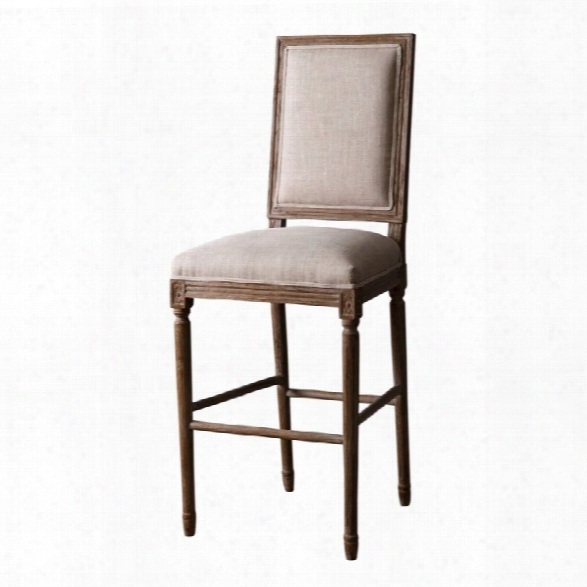 Abbyson Living Marc 30 Vintage Rectangle Back Bar Stool In Wheat