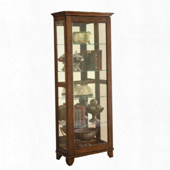 Coaster Curio Cabinet With 5 Shelves In Warm Brown