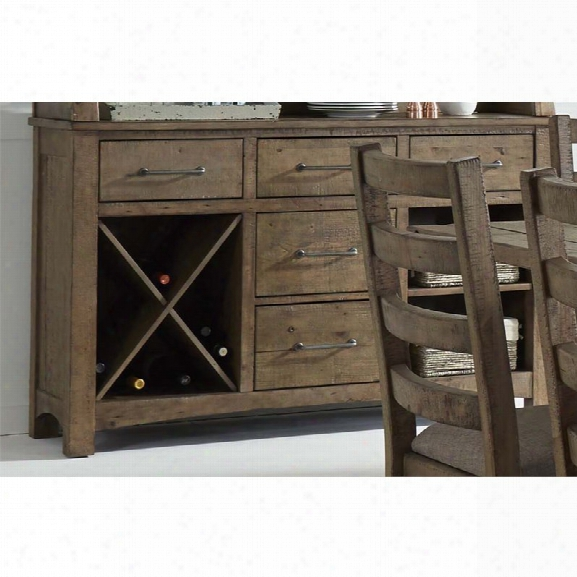 Liberty Furniture Prescott Valley Wine Rack Server In Antique Honey