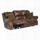Ashley Walworth Leather Power Reclining Sofa in Auburn