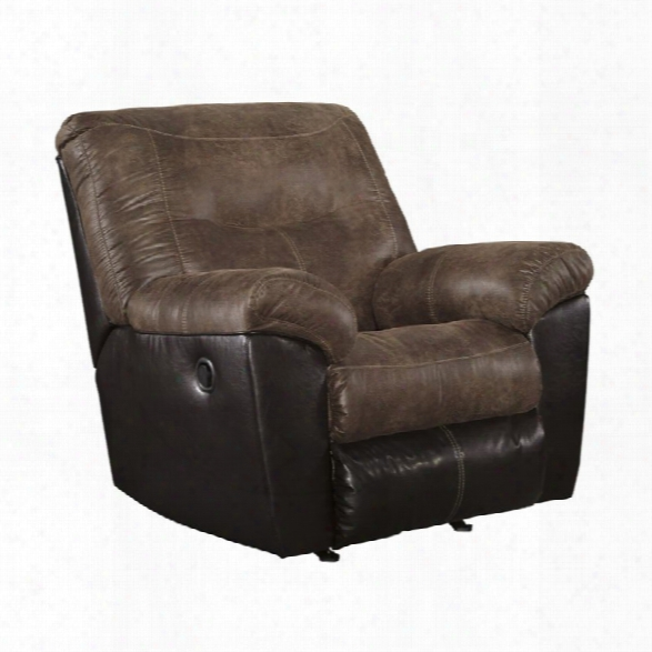 Ashley Follett Faux Leather Rocker Recliner In Coffee