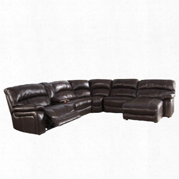 Ashley Furniture Damacio Leather Console Reclining Sectional In Brown