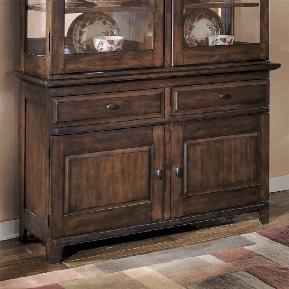 Ashley Larchmont 2 Drawer Wood Buffet In Brown