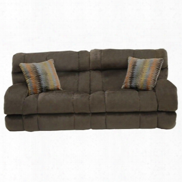 Catnapper Siesta Power Lay Flat Reclining Fabric Sofa In Chocolate
