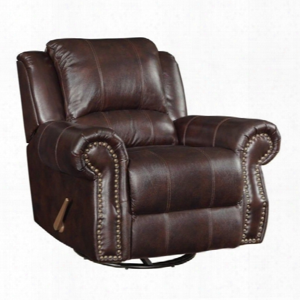 Coaster Rawlinson Faux Leather Glider Recliner In Tobacco