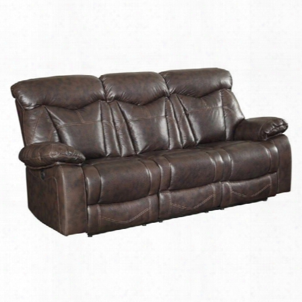 Coaster Zimmerman Faux Leather Power Reclining Sofa In Dark Brown