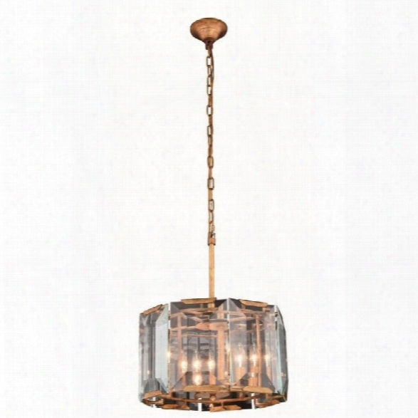 Elegant Lighting Monaco 17 4 Light Glass Crystal Pendant Lamp