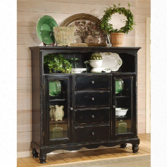 Hillsdale Wilshire 4 Drawer Curio Cabinet In Rubbed Black