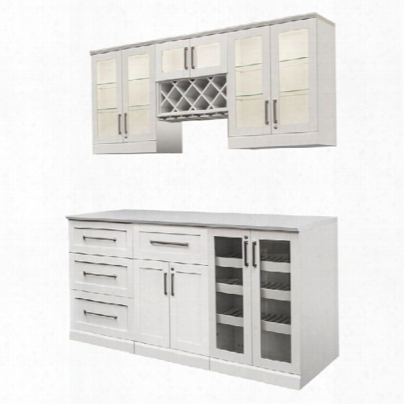 Newage Home Bar 7 Piece 72 X 25 Modular Cabinet Set In White