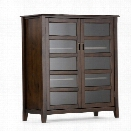 Simpli Home Burlington Storage Cabinet in Dark Espresso Brown