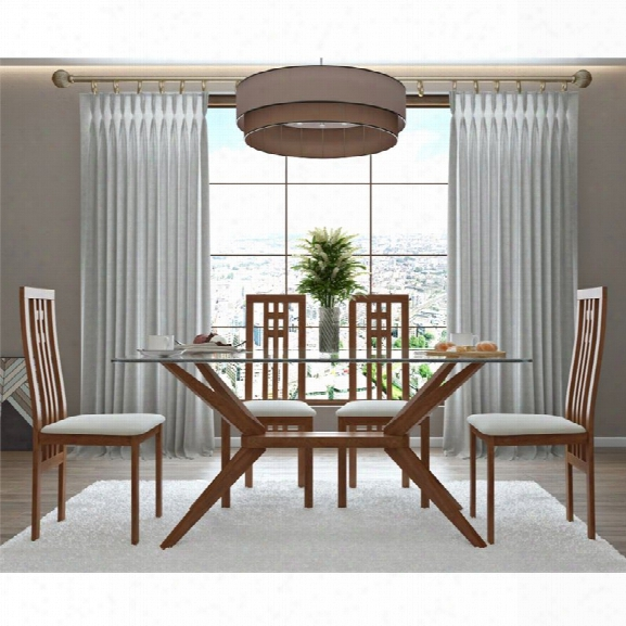 Aeon Furniture Greenwich 5 Piece Glass Top Dining Set In Walnut