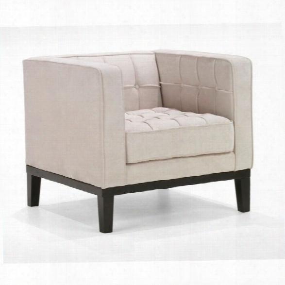 Armen Living Roxbury Tufted Club Arm Chair In White