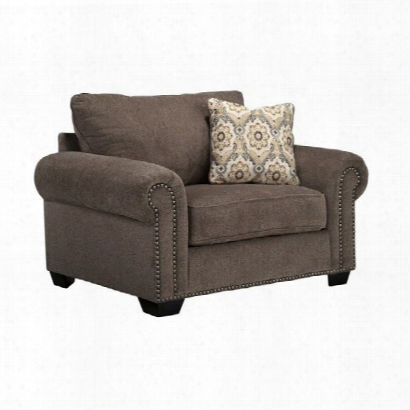 Ashley Emelen Chenille Oversized Accent Chair With Ottoman In Alloy