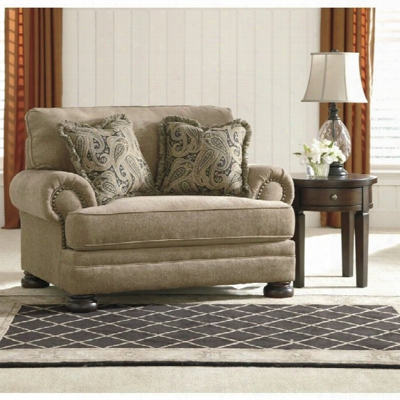 Ashley Keereel Fabric Accent Chair And A Hlaf In Sand