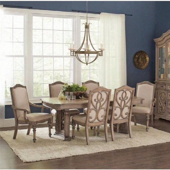 Coaster 5 Piece Dining Set In Cream And Antique Linen