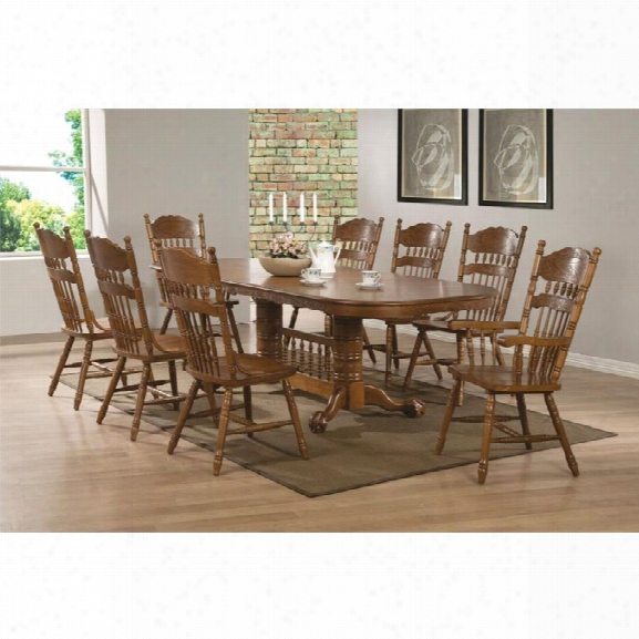 Coaster Brooks 7 Piece Extendable Dining Set In Medium Oak