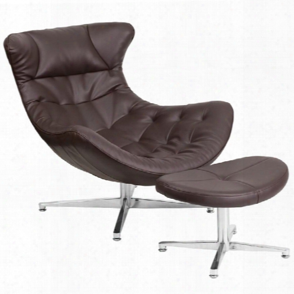 Flash Furniture Leather Cocoon Chair And Ottoman In Brown