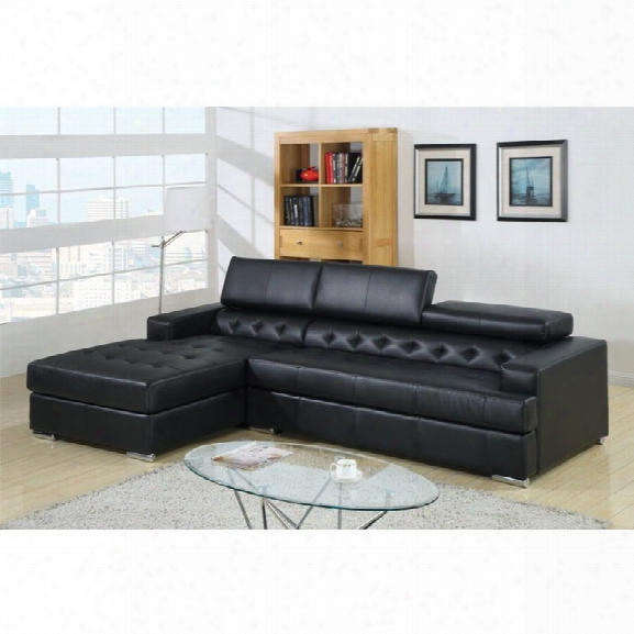 Furniture Of America Contreras Leatherette Sectional In Black