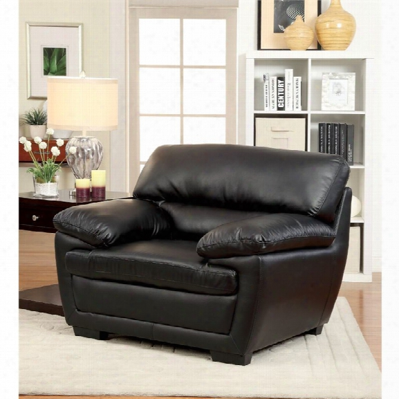 Furniture Of America Jamison Faux Leather Accent Chair In Black