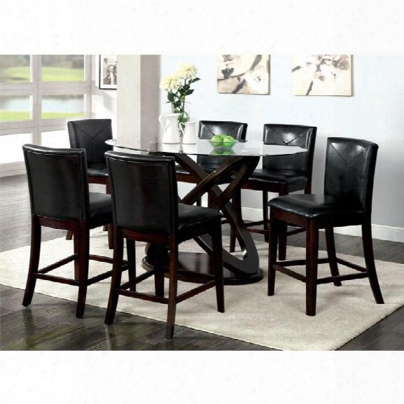 Furniture Of America Lamyra 7 Piece Counter Height Dining Set