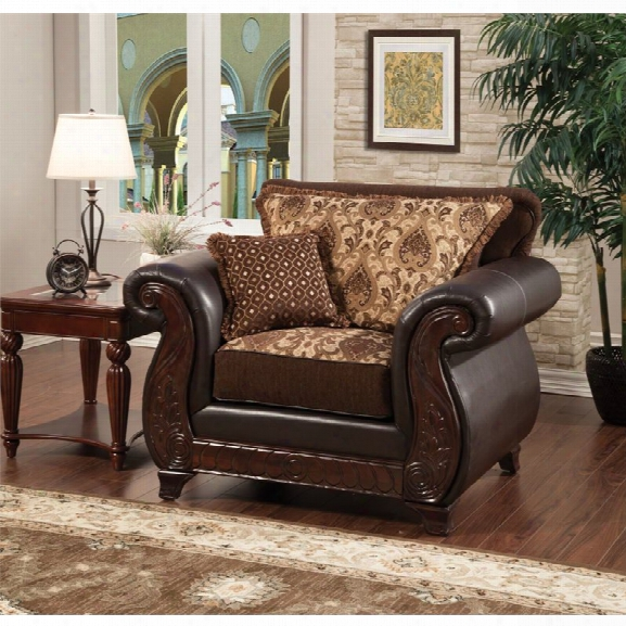 Furniture Of America Lozano Accent Chair In Dark Brown