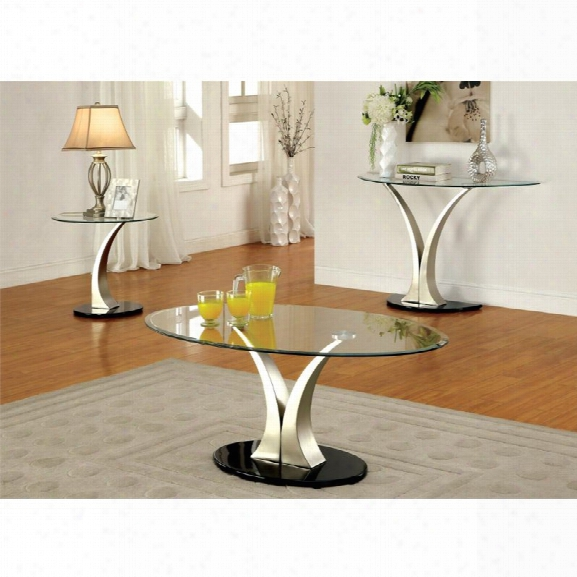 Furniture Of America Mansa 3 Piece Glass Top Table Set In Satin Plated