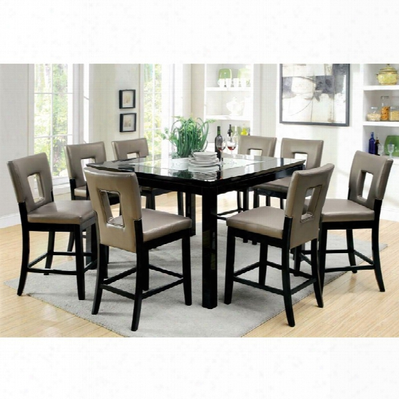 Furniture Of America Nosbisch 9 Piece Counter Height Dining Set
