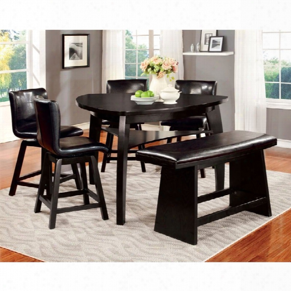 Furniture Of America Omura 6 Piece Counter Height Dining Se T In Black