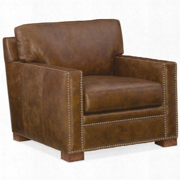 Hooker Furiture Jax Stationary Leather Chair In Brown
