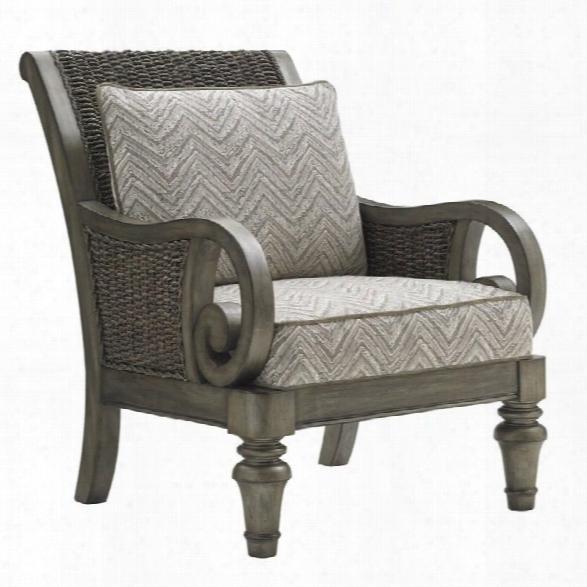 Lexington Oyster Bay Glen Cove Wicker Arm Chair In Misty Gray