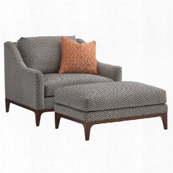 Lexington Take Five Greenstone Accent Chair And Ottoman In Gray