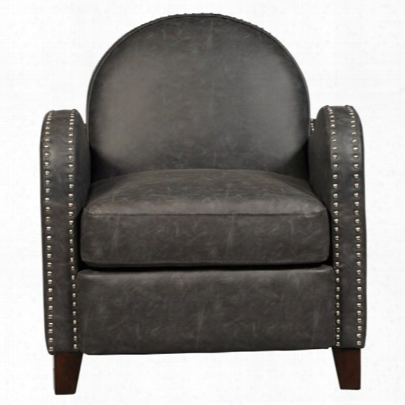 Pulaski Accentrics Home Faux Leather Curved Accent Chair In Gray