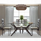 AEON Furniture Greenwich 5 Piece Glass Top Dining Set in Coffee