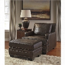 Ashley Corvan Accent Chair with Ottoman in Antique
