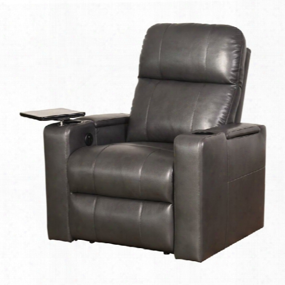 Abbyson Living Michelle Power Leather Recliner In Gry