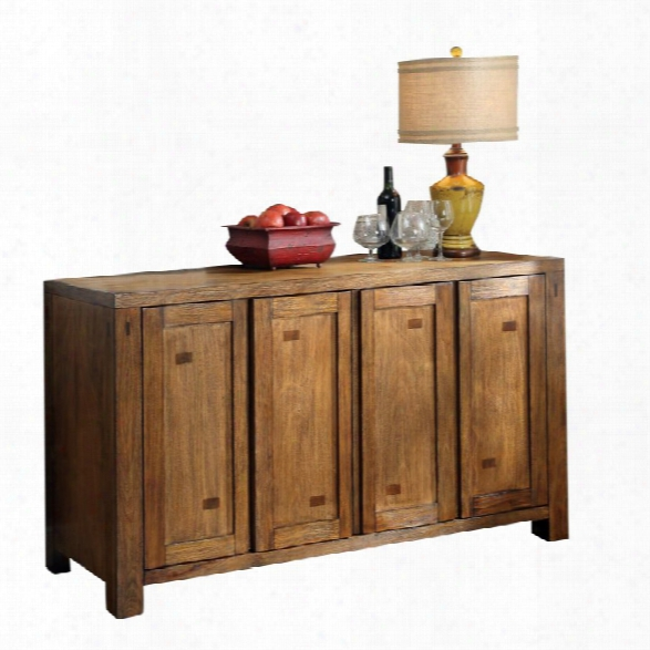 Furniture Of America Rowlie Wine Rack Buffet In Dark Oak