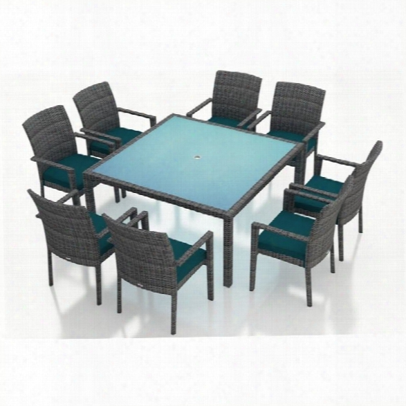 Harmonia Living District 9 Piece Square Patio Dining Set In Peacock
