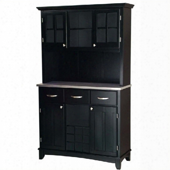 Home Styles 3 Drawer Black Wood Buffet With Stainless Steel Top And Hutch