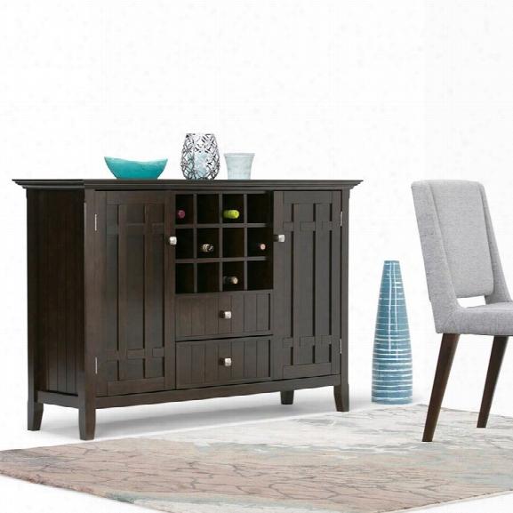Simpli Home Bedford Sideboard And Wine Rack In Tobacco Brown
