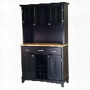 Home Styles Large Buffet with Natural Wood Top and 2-Door Hutch in Black