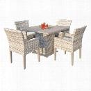 TKC Fairmont 5 Piece 40 Square Patio Dining Set in Beige