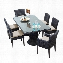 TKC Venice 7 Piece Wicker Patio Dining Set in Beige