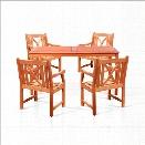 Vifah Balthazar 5 Piece Rectangular Hardwood Table Set with Arm Chairs